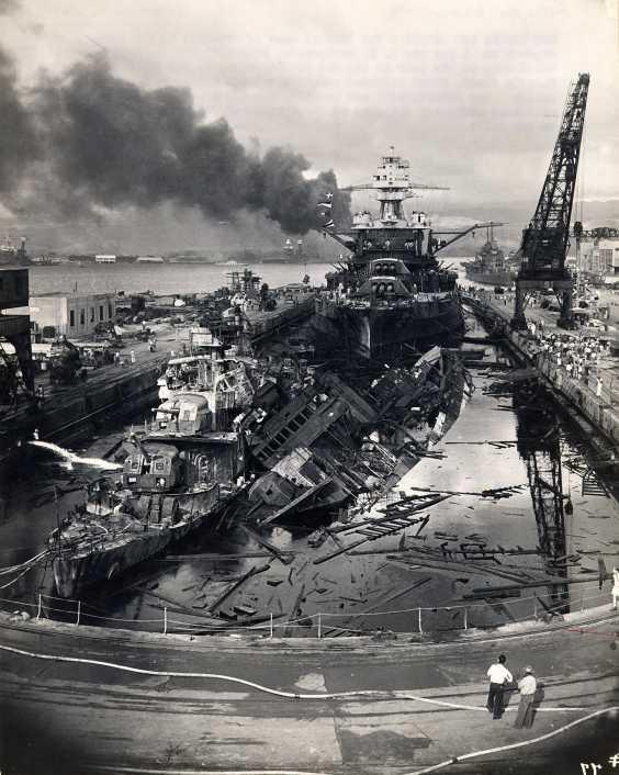 Pearl Harbor Battleship damaged