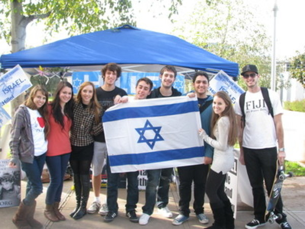 students hold israel flag