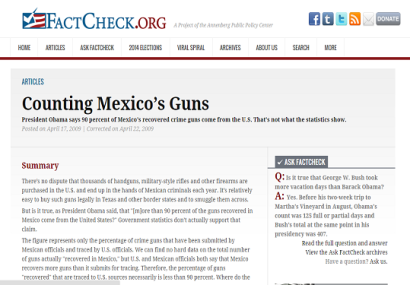 FactCheck.org Isn't Always Right: Wrong on US-Supplied Drug Cartel Guns