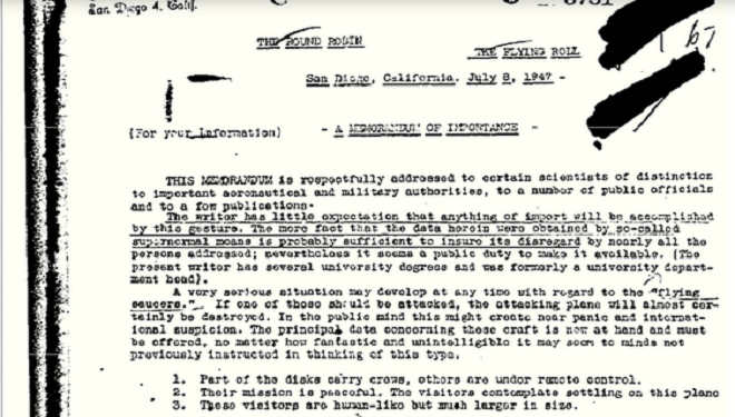 The Authenticity of the FBI Round Robin UFO Document