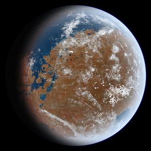 artist rendering of ancient mars