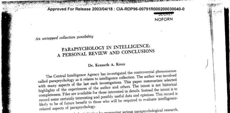 parapsychology in intelligence