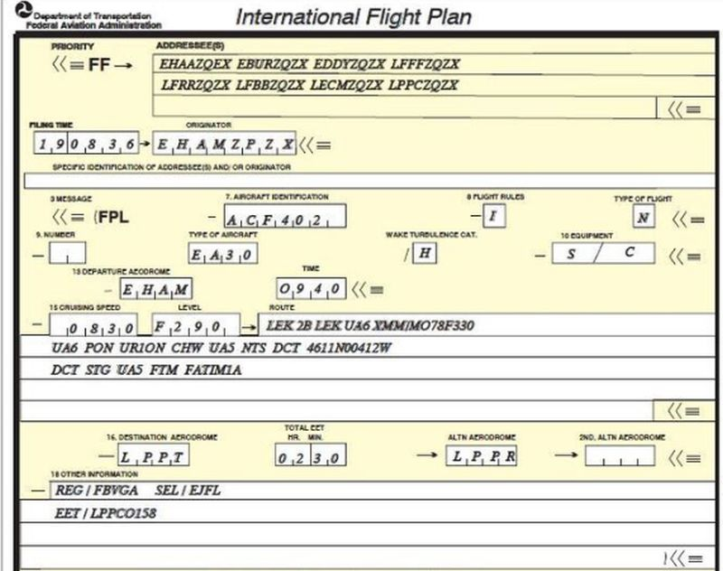 typical flight plan