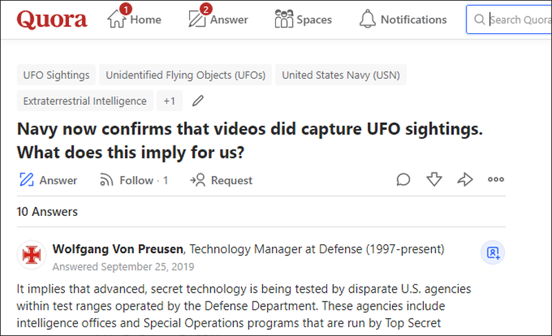 quora question about UFO sightings